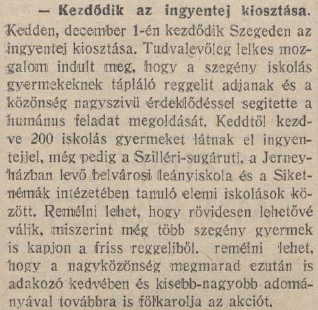 """""""Kezdődik az ingyentej kiosztása"""", a Délmagyarország napilap híradása 1914 decemberében"""