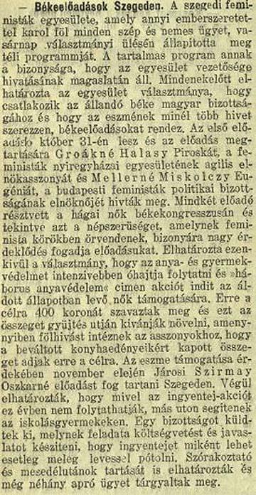 Békeelőadások Szegeden. Szegedi Napló, 1915. október 19.