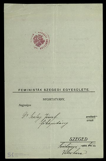 A Feministák Szegedi Egyesületének meghívója Szalay Ferenc főkapitány részére