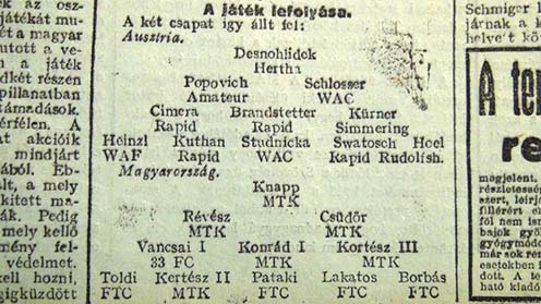 Vancsai, Toldi, Lakatos és a többiek a Sporthírlap 1915. május 31-ei számában. Nini, ott egy Schlosser is – az ellenfél csapatában