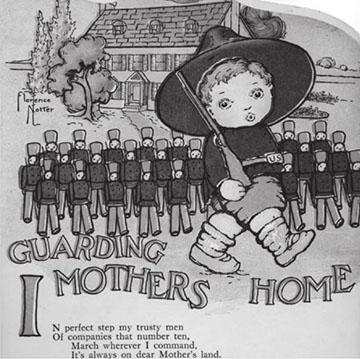 Florence Notter: Soldier Bob guarding Mother's Land, az egyik legnépszerűbb első világháborús brit hazafias gyerekkönyv, 1915 k.