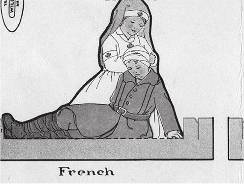 Brit, francia, belga és amerikai frontkórházi nővérek. Lányok számára készült kivágós játék. Reilly and Britton Company, 1918