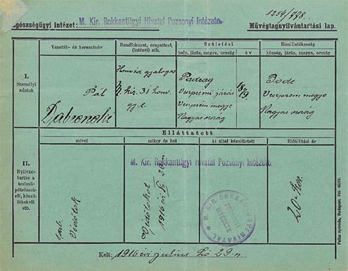 Dabronoki Pál padragi hadirokkant művégtagnyilvántartási lapja, amelyet a m. kir. Rokkantügyi Hivatal Pozsonyi Intézete állított ki 1916-ban