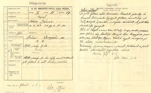 Kádi János bakonyszücsi hadirokkant Előjegyzési lapja, amelyet a m. kir. Rokkantügyi Hivatal Kassai Intézete állított ki 1917-ben