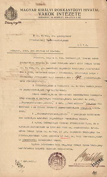 Iványi Gyula veszprémi vak hadirokkant felülvizsgálatáról szóló irat, amelyet a m. kir. Rokkantügyi Hivatal Vakok Intézete adott ki 1916-ban