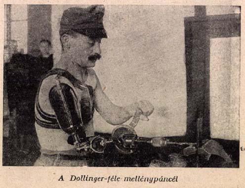 Dollinger-féle mellénypáncélt viselő hadirokkant munka közben