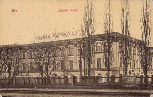 A váci Kobrak cipőgyár korabeli képeslapon