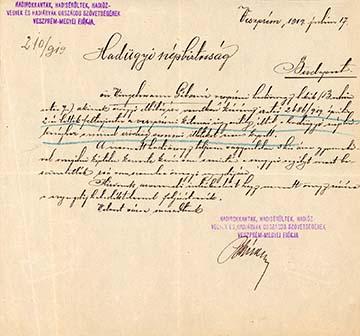 A Hadirokkantak, Hadisérültek, Hadiözvegyek és Hadiárvák Országos Szövetsége Veszprém megyei fiókjának levele a Hadügyi Népbiztossághoz, amelyet Vingelmann Gáborné veszprémi hadiözvegy járadékának ügyében írtak 1919. július 17-én