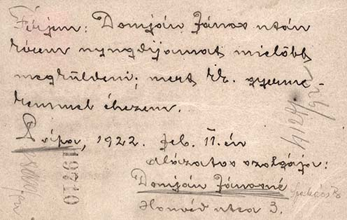 Domján Jánosné pápai hadiözvegy levelezőlapja, amelyet a Munkaügyi és Népjóléti Minisztériumnak címzett 1922-ben