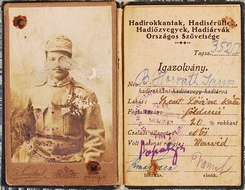 B. Horváth János hadirokkant igazolványa 1920 körül