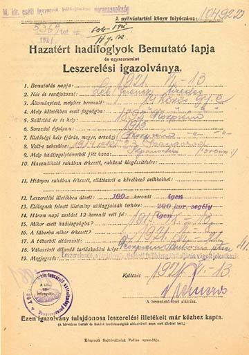 Léb Ferenc veszprémi tizedes részére Csóton, 1921-ben kiállított hadifogoly-igazolvány
