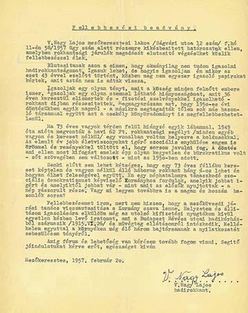 Vály Nagy Lajos hadirokkant 1957-ben írt fellebbezése megvont járadéka miatt