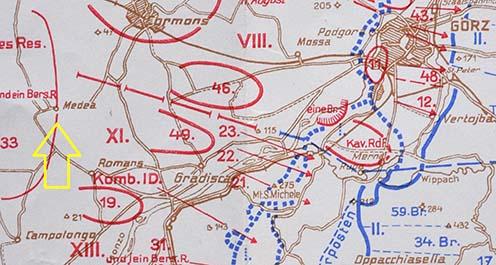 1916 végi térkép, rajta jelölve Medea falu