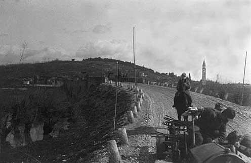 Medea, híd a Judrión, ahonnan Soldani látta a világítórakétákat a Doberdó felett
