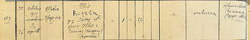 Koszta Illés halotti anyakönyvi kivonata a medeai plébániáról