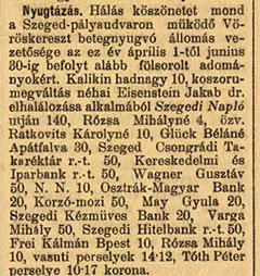 A Szeged és Vidéke 1918. július 5-ei híradása a betegnyugvó állomás részére tett adományokról