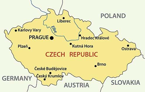 Kutná Hora (Kuttenberg) a Cseh Köztársaság mai térképén