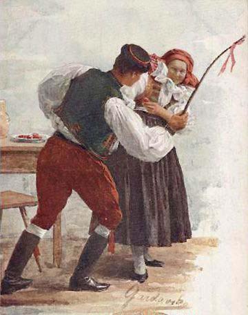 Húsvéti vesszőzés Csehországban az 1910-es években Maria Gvardavska festményénn