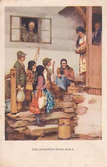 Húsvéti vesszőzés Csehországban az 1910-es években Maria Gvardavska festményén
