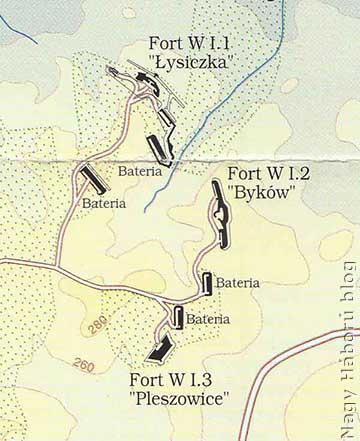 Laky százados védelmi vonala az I/1 (Łysiczka) és az I/2 (Byków) védmű között húzódott