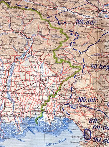 Olaszország és az Osztrák-Magyar Monarchia határtérsége az Isonzónál korabeli térképen