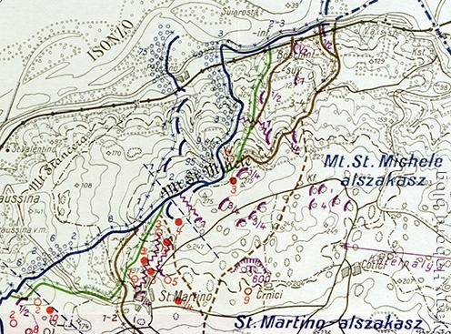 A védelmi állások a Doberdó-fennsík északi részén 1915 őszén