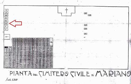 Posizione della sepoltura di Oreste Tarozzi, che corrisponde all'attuale posizione nel cimitero di oggi