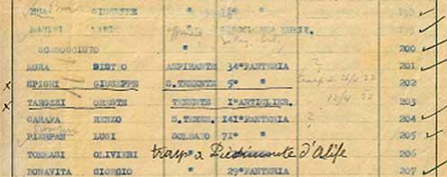 Il nominativo di Oreste Tarozzi sull'elenco dei sepolti a Mariano