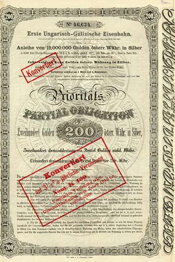 Az Első Magyar-Gácsországi Vasút egyik részvénye