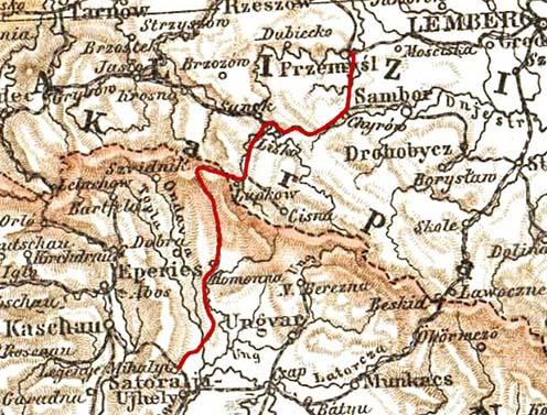Az Első Magyar–Gácsországi Vasút vonala piros vonallal jelölve