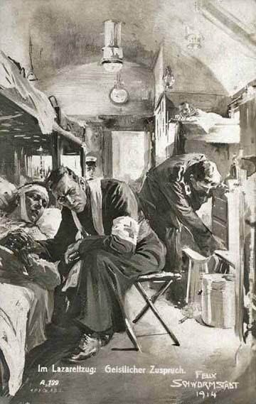 1914-ben egy kórházvonaton a lelkész egy sebesülttel beszélget