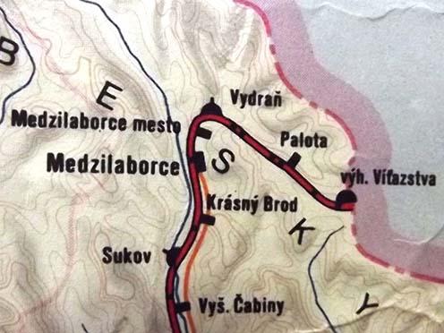 1981-ben megjelent csehszlovák vasúti térkép részlete a helyszínről