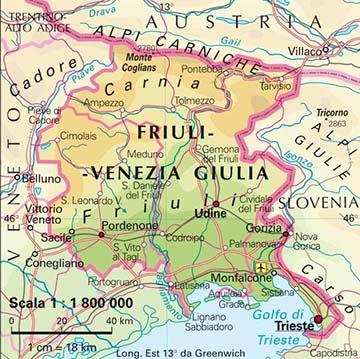 Friuli-Venezia-Giulia régió mai térképe