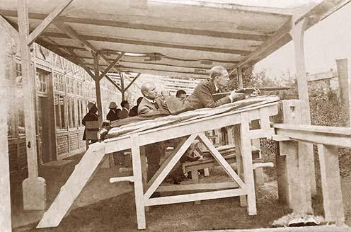 Prokopp Sándor felkészül az olimpiára a Szemere lövöldében, 1912