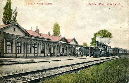 Pestszentlőrinc vasútállomás 1908 körül készült képeslapon