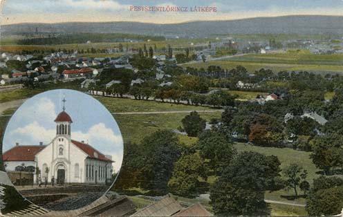Pestszentlőrinc látképe a kápolnával egy képeslapon 1911-ben