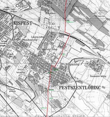 A védvonal jelölése Pestszentlőrinc 1920-as évek eleji térképén