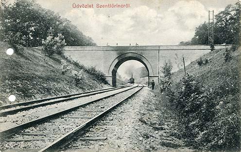 A Kőhíd a Ráday Gedeon utcánál a Budapest–Cegléd–Szolnok vasútvonal felett képeslapon, 1900-as évek