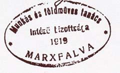 A marxfalvai munkástanács bélyegzőjének lenyomata, 1919