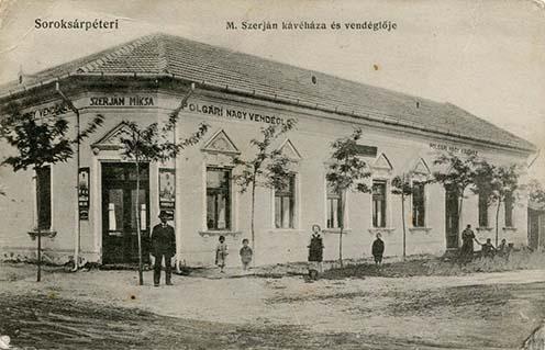 Szerján Miksa polgári nagyvendéglője és kávéháza képeslapon, 1912 körül