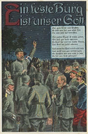 Az Erős vár a mi Istenünk című Luther-dal egy német tábori levelezőlapon