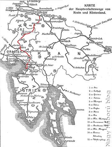 """Az 1910-es térképen pirossal jelölt, 1906-ban átadott """"Karawanken- und Wocheinerbahn"""" vasútvonal döntő szerepet játszott az Isonzónál harcoló osztrák–magyar csapatok felvonulásában és ellátásában"""