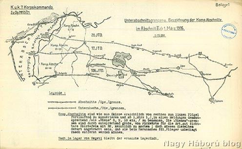 A VII. hadtest működési területe 1916. március 1-jén