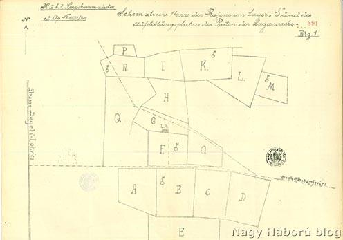 A Segeti tábor 1915. december 12-ei sematikus vázlata