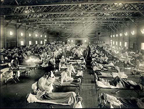 Az influenzajárvány első megbetegedései 1918 márciusában történtek a Kansas állambeli Fort Riley katonai támaszponton