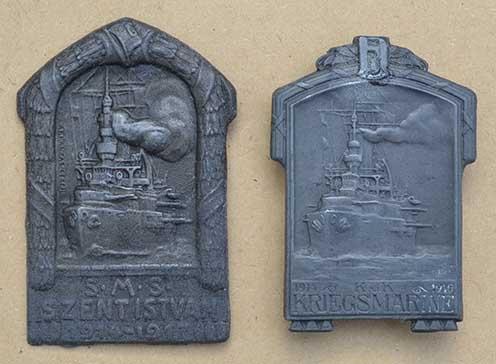 A budapesti Arkanzas és a bécsi Atelier Gurschner hadihajós sapkajelvényei