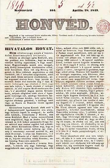 A Kolozsváron kiadott Honvéd 1849. április 28-iki számának címlapja