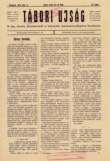 A Tábori Újság 1914. december 5-iki számának első oldala