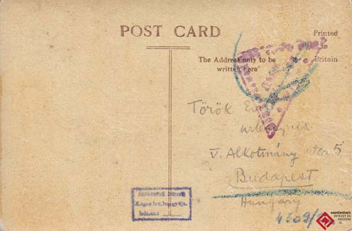 Török István képeslapjának elő- és hátlapja – a feladóról a Nemzetközi Vöröskereszt nyilvántartásából sem sikerült többet megtudni