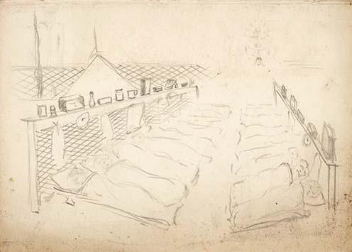 Az egyik dormitórium Carl Holzer rajzán (Az Alexandra Palace gyűjteményéből)